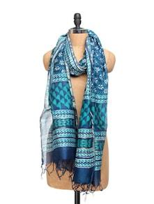 Blue Maheshwari Silk Cotton Dupatta With Bagru Print - Dupatta Bazaar