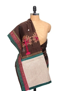 Maheshwari Cotton Silk Embroidered Brown Dupatta - Dupatta Bazaar