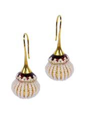 Maroon And Gold Pearl Drop Earrings - Luxor