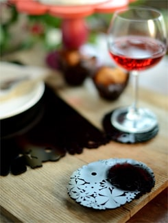 Black Floral Laser Cut Acrylic Coasters (Set Of 6) - Chalk N Cheese Lifestyles