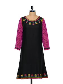 Vivid Cotton Kurti In Black - Arya Fashion