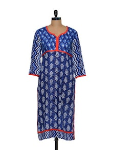 Printed Cotton Kurti In Blue - Arya Fashion