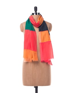 Multi Striped Cotton Silk Scarf With Contrasting Stitching - Chalk N Cheese Lifestyles