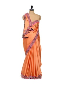 Orange And Pink Subtle Saree - Purple Oyster