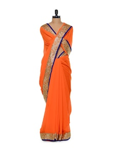 Orange Sequin Bordered Chiffon Saree - Purple Oyster