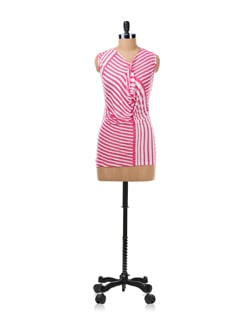 Pink And White Draped Top - Allen Solly