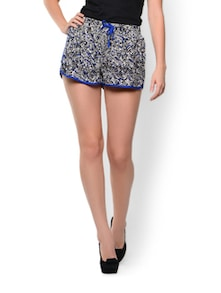 Blue Black Printed Shorts - Trend 18