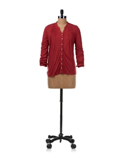 Dark Red Viscose Jersey Shirt - Van Heusen