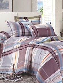 White Check Print Bedcover Set - Story @ Home