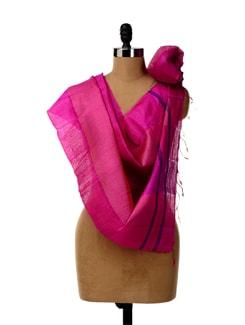 Pink Hued Tussar Silk Striped Stole - SONJATO SEN