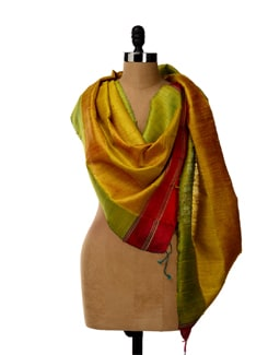 Lemon Hued Tussar Silk Striped Stole - SONJATO SEN