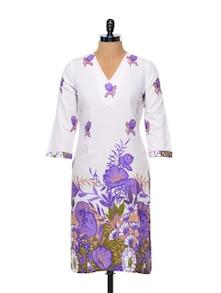 White Base Floral Print Kurta - Overdrive 847171