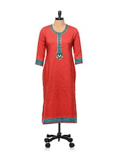 Red And Blue Printed Kurti - AFSANA