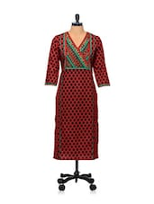 Red And Black Printed Kurti - AFSANA