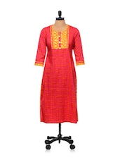 Pink And Yellow Printed Kurti - AFSANA
