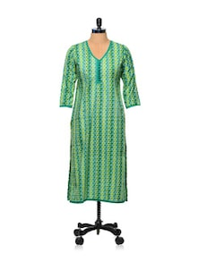 Green And Yellow Printed Kurti - AFSANA