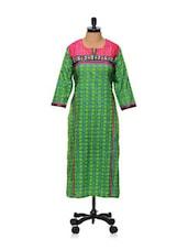 Green Printed Kurti - AFSANA