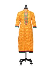 Orange And Yellow Printed Kurti - AFSANA