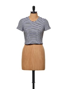 Striped Cotton Knit Crop Top - STREET 9