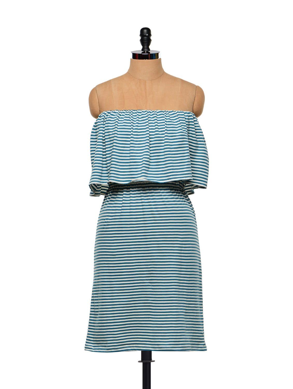 Striped Ruffled Tube Dress - STREET 9
