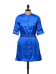 Royal Blue Shirt Dress With Fabric Belt - STREET 9
