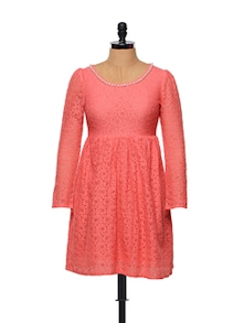 Fit-and-flare Peach Cotton Lace Dress - STREET 9