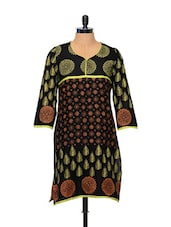 Block-printed Black Cotton Kurti - Facon