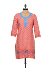 Block-printed Peach Cotton Kurti - Facon