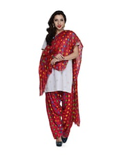 Dark Pink Polka-Dot Salwar And Dupatta Set - STRI