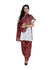Printed Red Salwar And Dupatta Set - STRI