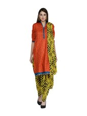 Yellow And Black Polka-Dot Salwar And Dupatta Set - STRI