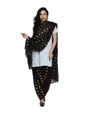 Black Polka-Dot Salwar And Dupatta Set - STRI