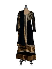 Elegant Black Long Anarkali With Golden Yoke - Sanchey