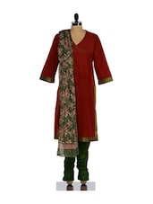 Elegant Red Kurta And Green Churidar Suit Set - KILOL
