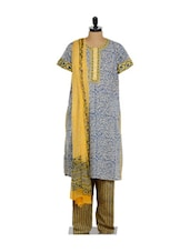 Red And Yellow Floral Print Cotton Kurta Salwar Set - KILOL
