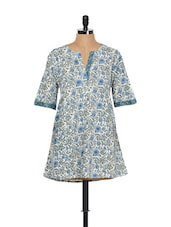 Blue And Green Floral Print Summer Kurti - KILOL