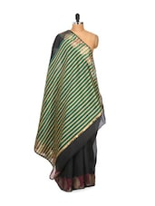 Black Super Net Cotton Saree - Bunkar
