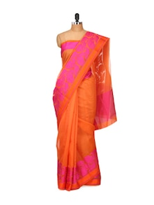Orange Super Net Saree - Bunkar