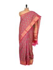 Faux Chanderi Silk Saree In Pink - Bunkar