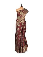Black-maroon Faux Chanderi Cotton Silk Saree - Bunkar