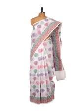 White Cotton Silk Banarasi Net Saree - Bunkar