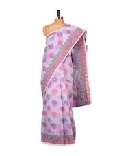 Washed Pink Floral Cotton Silk Saree - Bunkar