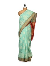 Sea-Green Silk Saree - Bunkar