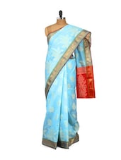 Sky Blue Cotton Silk Saree - Bunkar