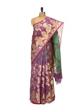Purple And Gold Faux Cotton Silk Saree - Bunkar