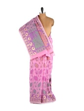 Pretty Printed Lavender Cotton Silk Saree - Bunkar