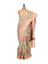 Floral Printed Beige Cotton Silk Saree - Bunkar