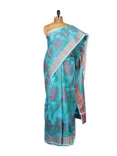 Floral Printed Blue Cotton Silk Saree - Bunkar