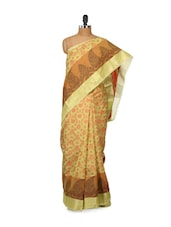 Green Printed Cotton Silk Saree - Bunkar