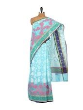 Light Blue Printed Cotton Silk Saree - Bunkar